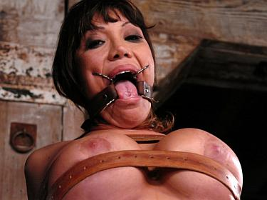 bondage in leather straps for Ava Divine